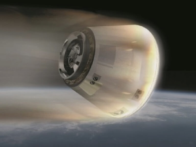 Image of HTV Small Re-entry Capsule re-entering the atmosphere(provided by JAXA)